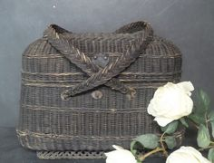 Your place to buy and sell all things handmade Black Shoe Polish, French Baskets, Market Baskets, Antique Market, Basket Bag, Rustic Charm, Decoration, Wicker Baskets, French Antiques