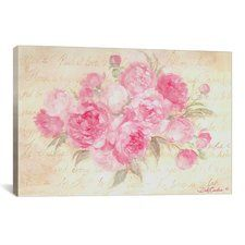 Peonies Passion Painting Print on Wrapped Canvas