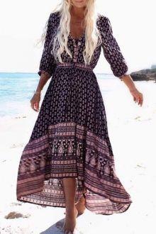 Ethnic Print V Neck 3/4 Sleeve Maxi Dress
