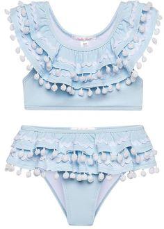 Bikini for Girls in the perfect blue with cute trim made from high quality fabrics. Blue Bikini, Bikini Girls, Blue Drapes, Kate Dress, Pom Pom Trim, Pom Poms, Girls Bathing Suits, Double Ruffle, Cute Swimsuits