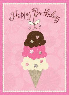 """Super Bonbon Drôle Humour /""""Fabuleux anniversaire/"""" Mignon Quirky Carte Crème Glacée Cône"""