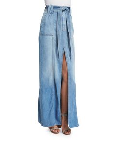 Long Belted Denim Maxi Skirt, Amalfi Sea - 7 For All Mankind