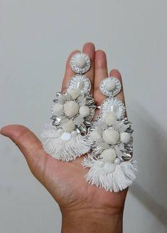 Long Tassel Earrings, White Earrings, Boho Earrings, Handmade Beads, Earrings Handmade, Jewelry Hooks, Handmade Wedding, Wedding Earrings, Glass Beads
