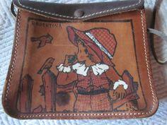 vintage childs purse, shoulder bag, painted leather,,girl w/birds~~