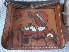vintage childs purse painted leather