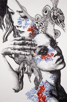 Intricate, highly processed and full of great charm , illustrations by Gabriel Moreno