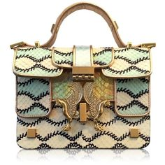 Giancarlo Petriglia Designer Handbags Romantic Multicolor Printed... (€1.680) ❤ liked on Polyvore featuring bags, handbags, shoulder bags, purses, borse, сумки, leather purse, brown purse, shoulder handbags and genuine leather shoulder bag
