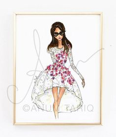 Premium quality Epson print on fine art paper. Printed with archival inks, hand done glitter accents. The watermark will not appear on printed art piece. Frame not included. Gold frame sold by PennyJaneDesign: Jenny Packham, Elie Saab, Fashion Prints, Fashion Art, Chambray, Fashion Illustration Sketches, Fashion Design Drawings, Girl Falling, Designs To Draw