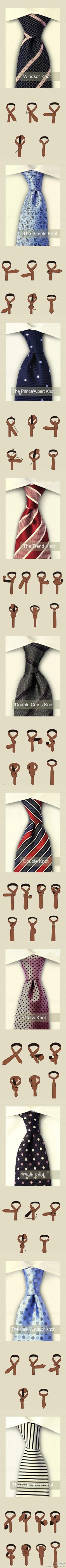 Different ways to tie ties.