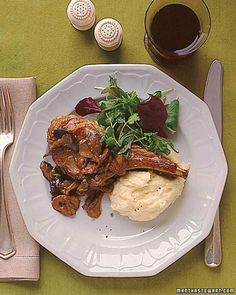 Veal Chops with Creamy Mushroom Sauce and Mashed Potatoes