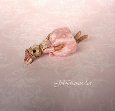Ready to Send - Tiny Pink Rabbit Bunny Ballerina doll - antique: eyes, silk ribbon and lace - Jill Dianne Dollhouse Miniature Art Doll on Etsy, $225.00