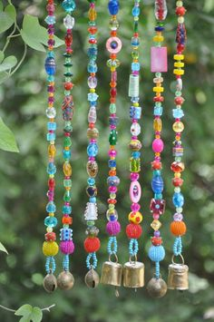 crafts to make and sell wind chimes Bohemian Hippie Unique Beaded Curtain for the window door or wall Seed Bead Tutorials, Beading Tutorials, Glass Bead Crafts, Glass Beads, Meubles Peints Style Funky, Carillons Diy, Crafts To Sell, Crafts For Kids, Hippie Crafts