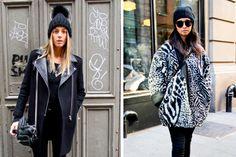 Sombreros de lana, uno con un pompón en la punta y otro con terminación redonda. #StreetHair