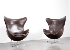 For sale: Pair of chocolate brown leather Egg chairs by Arne Jacobsen, Recycled Plastic Adirondack Chairs, Adirondack Chair Cushions, Outdoor Dining Chair Cushions, Pouf Chair, Swivel Rocker Recliner Chair, Diy Chair, Big Comfy Chair, Most Comfortable Office Chair, Best Computer Chairs