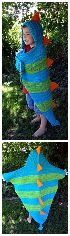 Absolutely Adorable Hooded Dragon Blanket Crochet Pattern -