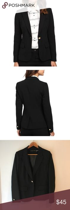 Ivanka Trump One Button Crepe Jacket Sz 8 One-button jacket in a crisp crepe fabrication. Notched collar. Long sleeves. Front hand pockets. Straight hemline with vented back detail. 100% polyester. Dry clean only. Imported. Product measurements were taken using size 2. Please note that measurements may vary by size. Measurements: Length: 24 in Ivanka Trump Jackets & Coats