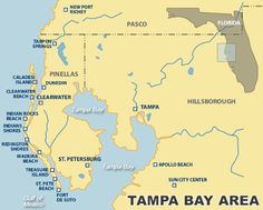 Map of Tampa Bay Beaches,  It's that time of year again, who's ready to get some sun!