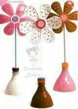 flower made of plastic bottle Reuse Plastic Bottles, Plastic Bottle Flowers, Plastic Bottle Crafts, Recycled Bottles, Recycled Crafts, Kids Crafts, Preschool Crafts, Diy And Crafts, Paper Crafts
