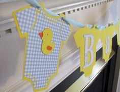 Baby Onesie Duck Baby Shower Banner by ElegantPartyPlans on Etsy, $17.99