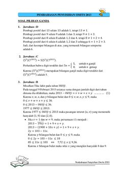 PEMBAHASAN PENYISIHAN OMITS 2013 SOAL PILIHAN GANDA 1.  Jawaban : D Pembagi positif dari selain adalah , tetapi . Pembagi ...
