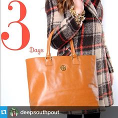 @deepsouthpout---3 Days! Countdown continues! Three days till the famous Friday Before Black Friday Sale! Don't miss out on our AMAZING giveaways that we will be announcing each day this week!  Today's reveal: Tory Burch handbag!! (Be watching each day to see what other prizes we will be giving out on Friday.... Hint hint, tomorrow's reveal will make you shine bright like the golden egg!!!) Know anyone who might like this? Maybe you should tag them........
