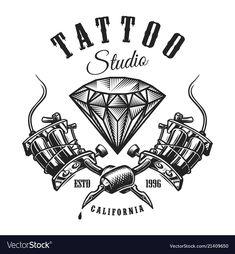 Vintage tattoo monochrome label with dia Tan Tattoo, Tattoo Outline, Logo Studio, Tattoo Studio, Machine Logo, Tattoo Machine, Gangsta Tattoos, Life Tattoos, Historical Tattoos