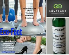 Eco-Foot The perfect foot spray to relax, to prevent odours and to cool-off hot feet. Another family product by www.lovacado.com Foot Spray, Radiant Skin, Avocado Oil, Peppermint, Essential Oils, Relax, Wellness, Workout, Bottle