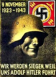 "German poster that says ""We will triumph with Adolf Hitler as our fuhrt."""
