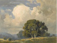 Percy Gray (1869-1952) Oaks beneath billowing clouds 18 x 24in overall: 23 x 29in