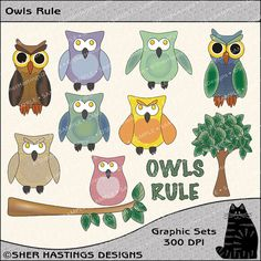 Owls Rule Graphic and Clipart Set  Digital by SherHastingsDesigns.etsy.com