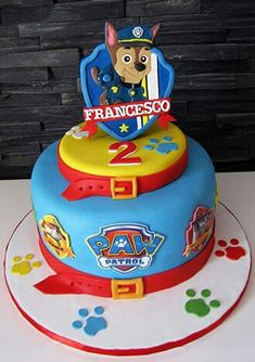 is on the cake! Love this awesome PAW Patrol cake inspiration.Chase is on the cake! Love this awesome PAW Patrol cake inspiration. Paw Patrol Chase Cake, Torta Paw Patrol, Paw Patrol Badge, Paw Patrol Birthday Cake, Paw Patrol Party, Cake Disney, Decoration Patisserie, Character Cakes, Cakes For Boys