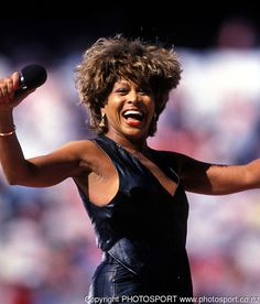 Tina Turner performs before a match during the Winfield cup. 1993. Photo: Andrew Cornaga/PHOTOSPORT