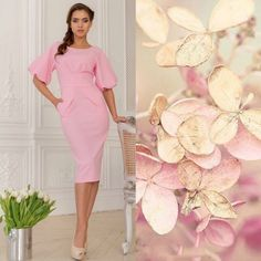 Розовое платье-футляр как у Эвелины Бледанс арт. 1003