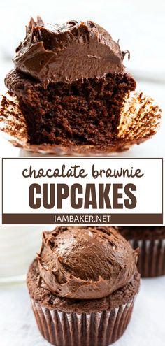 Chocolate Brownie Cupcake Recipe, Homemade Chocolate Cupcakes, Brownie Cupcakes, Chocolate Brownies, Chocolate Recipes, Cupcake Cakes, Brownie Frosting, Chocolate Truffles, Easy Cake Recipes