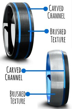 Mens tungsten wedding rings. The most unique and modern looking wedding rings. Both of these mens wedding rings are designed with carved blue channels and a textured brushed top.