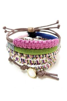 Get 15% OFF with code PINTASSY15   Boho Bracelet Stack - Set of 3 Colorful Thread Bracelets for Girls