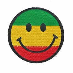 """Rasta Smiley Face Embroidered Patch 2.75"""" DIY Iron on Punk Cute Red Green Yellow #Embroidered"""