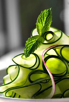 ribbon cucumber salad with mint -