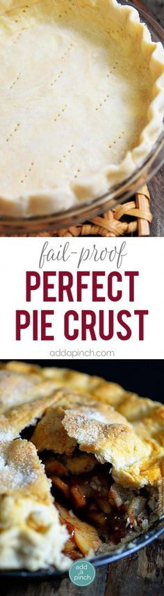 A pie crust recipe that works perfectly for sweet and savory pies. This pie crust recipe is made by hand and makes a perfect pie crust every single time! // addapinch.com