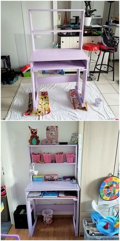 How about adding your house with these cute designed miniature and yet innovative looking kids room study table design. But wait! That's not all! There is an excellent addition of the shelving portion design too that make it end up a complete awesome furniture set.