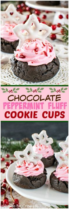 Chocolate Peppermint Fluff Cookie Cups - swirls of creamy pink filling and candy cane bits make these easy cookies a fun treat.  Great dessert recipe for holiday parties!