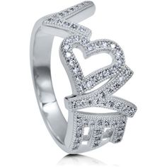 BERRICLE Sterling Silver 0.32 ct.tw CZ Love Heart Fashion Right Hand... ($79) ❤ liked on Polyvore featuring jewelry, rings, clear, women's accessories, cocktail ring, cz cocktail rings, heart shaped cubic zirconia rings, band rings and cubic zirconia band rings