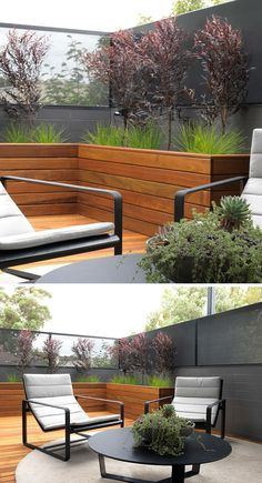 12 Ideas For Including Built-In Wooden Planters In Your Outdoor Space // These large wood planters create a space for greenery, and as the plants grow, will contribute to making the patio more private as well.