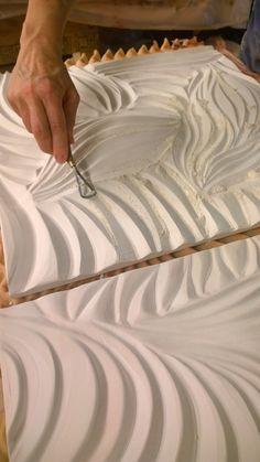Shop: Tile Backsplash, Ceramic Wall Tiles, Vessels, and More - Natalie Blake Studios Natalie Blake carving an Architexture Tile for Macy's Florida installation! Plaster Sculpture, Plaster Art, Wall Sculptures, Sculpture Art, Ceramic Wall Tiles, Ceramic Clay, Ceramic Pottery, Sgraffito, Cerámica Ideas