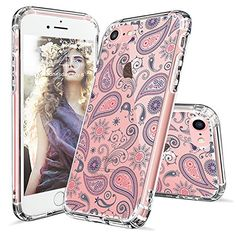 iPhone 7 Case, iPhone 7 Bumper, MOSNOVO Paisley Floral Flower Clear Design Pattern Slim Transparent Plastic Hard with Soft TPU Bumper Protective Back Phone Case Cover for Apple iPhone 7 (4.7 Inch)