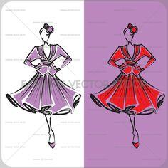 A vector fashion sketch of a lady.  ®Yordanka Poleganova