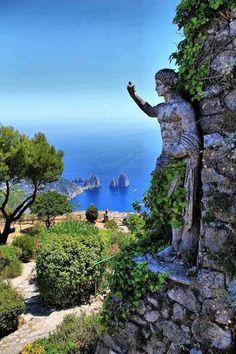 Beautiful statue Isle of capfri. Italy