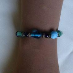 Bracelet perles de verre turquoises
