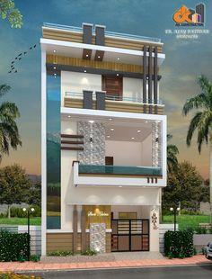 3 Storey House Design, Duplex House Plans, Bungalow House Design, House Front Design, Modern Exterior House Designs, Narrow House Designs, Best Modern House Design, House Elevation, Front Elevation Designs