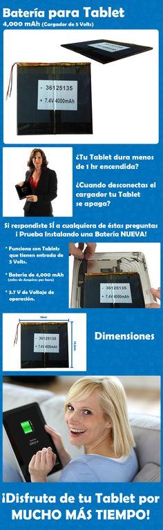 Batería para Tablet 4,000 mAh ¡Disfruta de tu Tablet por MUCHO MÁS TIEMPO!